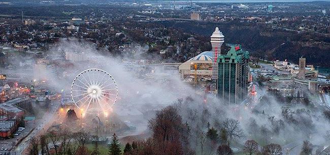 Aerial Foggy View of Casino Niagara